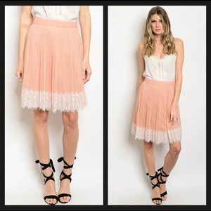 🛍SALE🛍 Blush Pink Lace Pleated Skirt